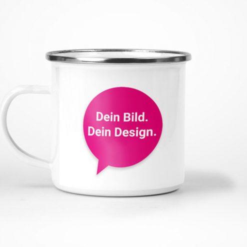 Robuste Emaille-Tasse online gestalten und blitzschnell drucken!
