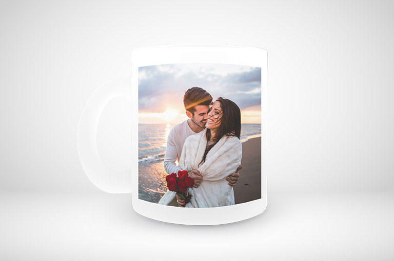 Frostglas Tasse online gestalten und blitzschnell drucken!