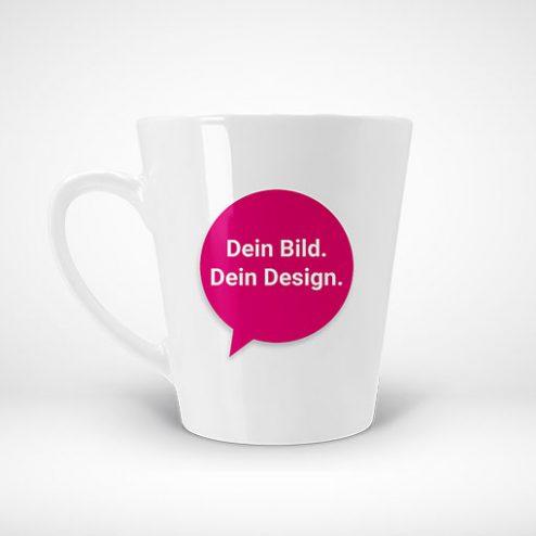 Auf unserer Website können Sie elegant konisch geformte Tassen selber gestalten und bestellen.