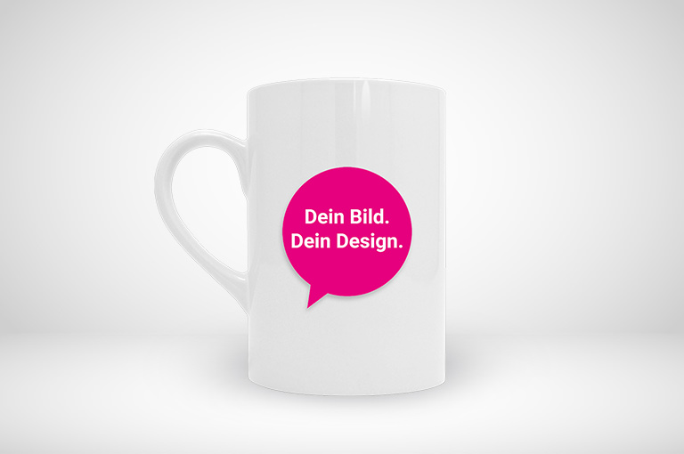 Unsere klassische Tasse im schlanken Format online gestalten und blitzschnell drucken!