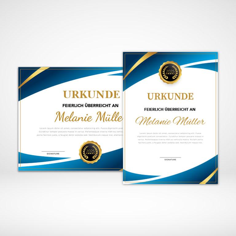 Urkunden farbig online gestalten und blitzschnell bedrucken!