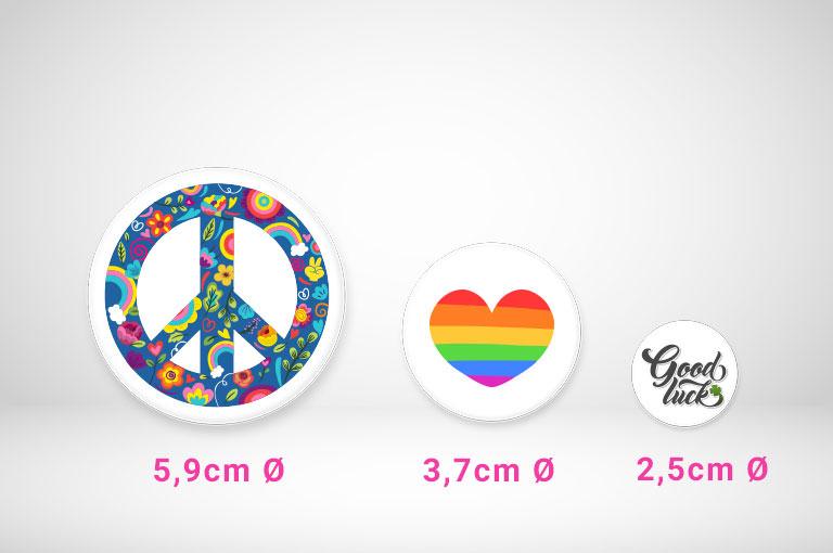 Buttons selbst gestalten in verschiedenen Größen!