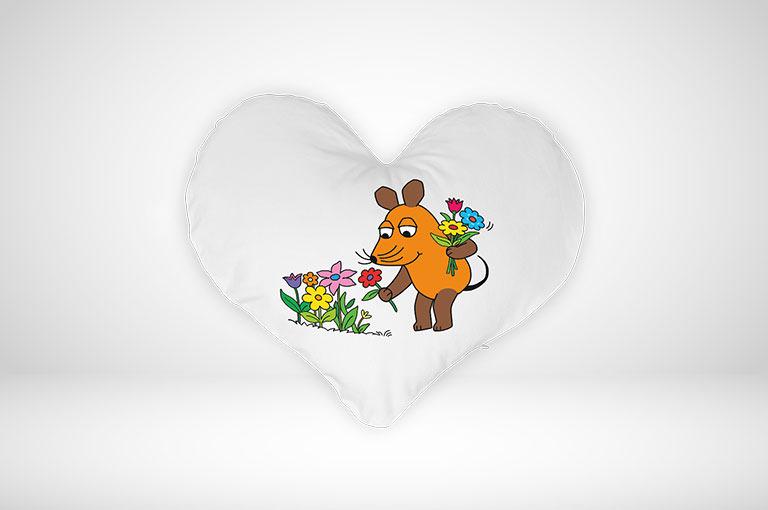 Gestalten Sie jetzt Ihre Sendung mit der Maus-Herz-Kissen online!